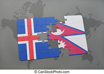 puzzle with the national flag of iceland and nepal on a world map
