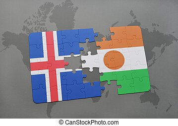 puzzle with the national flag of iceland and niger on a world map