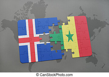 puzzle with the national flag of iceland and senegal on a world map