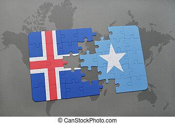 puzzle with the national flag of iceland and somalia on a world map