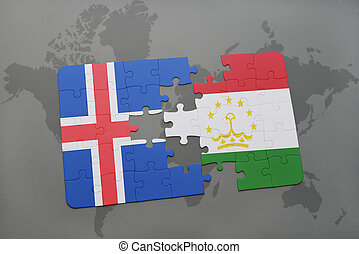 puzzle with the national flag of iceland and tajikistan on a world map