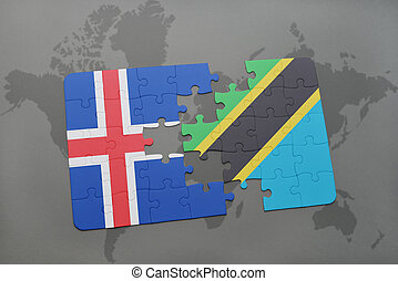 puzzle with the national flag of iceland and tanzania on a world map