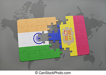 puzzle with the national flag of india and andorra on a world map background.