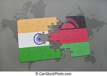 puzzle with the national flag of india and malawi on a world map background.