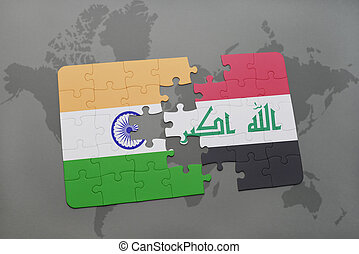 puzzle with the national flag of india and iraq on a world map background.