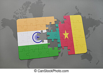 puzzle with the national flag of india and cameroon on a world map background.
