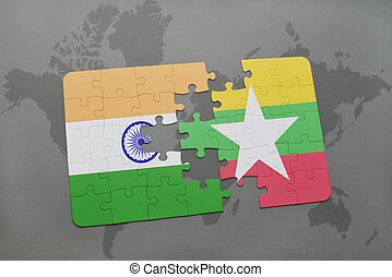 puzzle with the national flag of india and myanmar on a world map background.