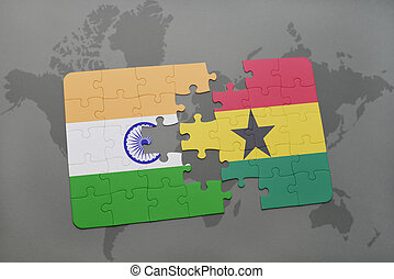 puzzle with the national flag of india and ghana on a world map background.