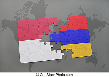puzzle with the national flag of indonesia and armenia on a world map background.