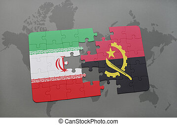 puzzle with the national flag of iran and angola on a world map background.