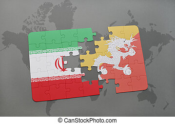 puzzle with the national flag of iran and bhutan on a world map background.