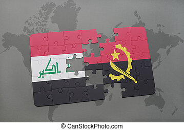 puzzle with the national flag of iraq and angola on a world map background.