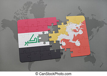 puzzle with the national flag of iraq and bhutan on a world map background.