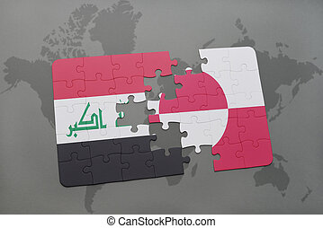 puzzle with the national flag of iraq and greenland on a world map background.