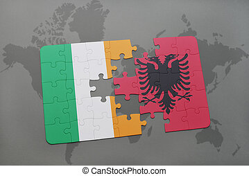 puzzle with the national flag of ireland and albania on a world map background.