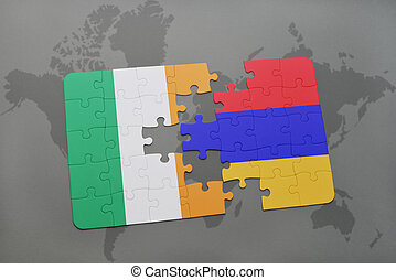 puzzle with the national flag of ireland and armenia on a world map background.