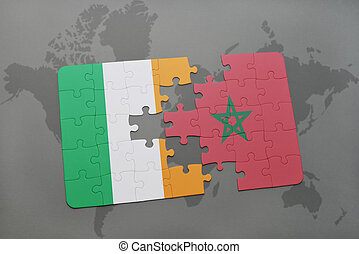 puzzle with the national flag of ireland and morocco on a world map