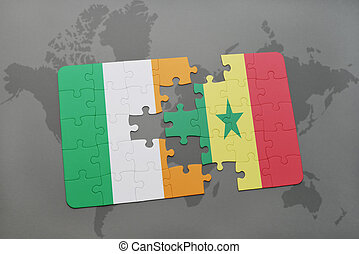 puzzle with the national flag of ireland and senegal on a world map