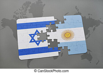 puzzle with the national flag of israel and argentina on a world map background.