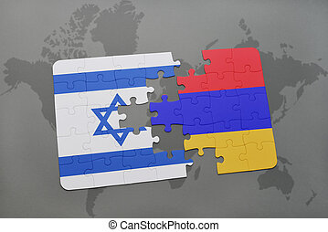 puzzle with the national flag of israel and armenia on a world map background.