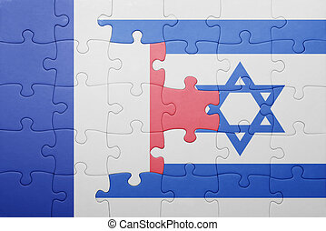 puzzle with the national flag of israel and france