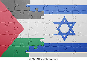 puzzle with the national flag of israel and palestine ....