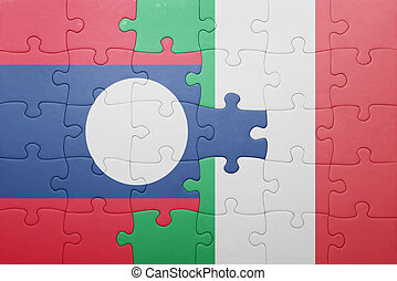 puzzle with the national flag of italy and laos