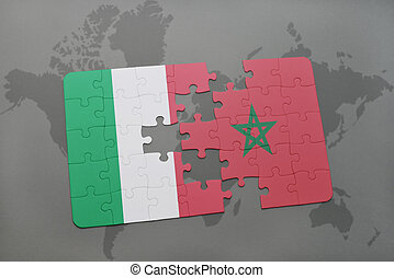 puzzle with the national flag of italy and morocco on a world map background.