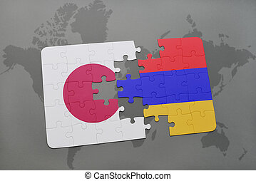 puzzle with the national flag of japan and armenia on a world map background.