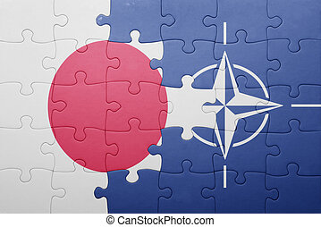 puzzle with the national flag of japan and nato