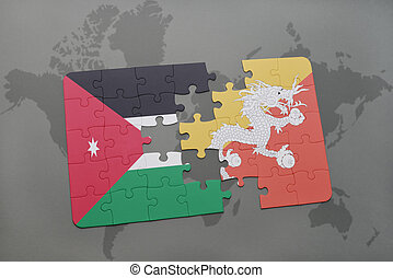 puzzle with the national flag of jordan and bhutan on a world map background.