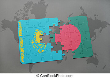 puzzle with the national flag of kazakhstan and bangladesh on a world map