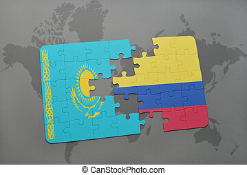 puzzle with the national flag of kazakhstan and colombia on a world map