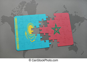 puzzle with the national flag of kazakhstan and morocco on a world map