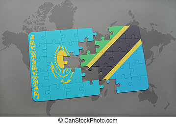 puzzle with the national flag of kazakhstan and tanzania on a world map