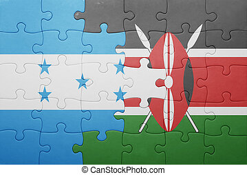 puzzle with the national flag of kenya and honduras.