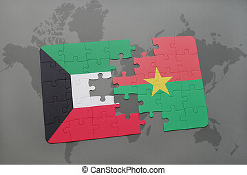 puzzle with the national flag of kuwait and burkina faso on a world map