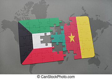 puzzle with the national flag of kuwait and cameroon on a world map