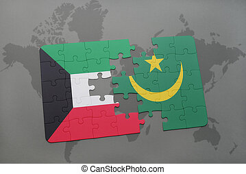 puzzle with the national flag of kuwait and mauritania on a world map