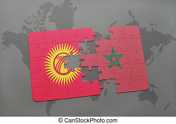 puzzle with the national flag of kyrgyzstan and morocco on a world map