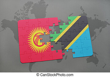 puzzle with the national flag of kyrgyzstan and tanzania on a world map