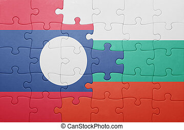 puzzle with the national flag of laos and bulgaria