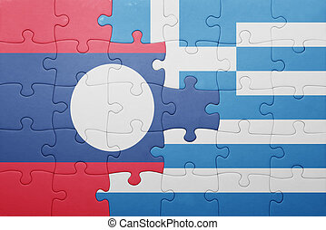 puzzle with the national flag of laos and greece