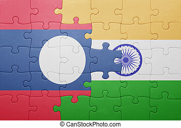 puzzle with the national flag of laos and india