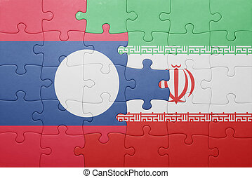 puzzle with the national flag of laos and iran