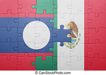 puzzle with the national flag of laos and mexico