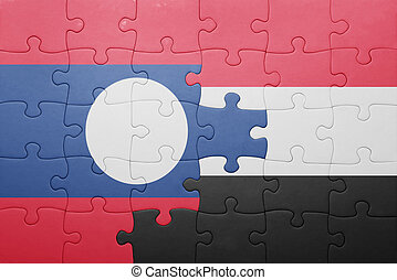 puzzle with the national flag of laos and yemen
