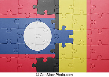 puzzle with the national flag of laos and belgium