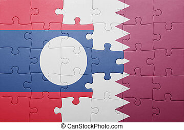 puzzle with the national flag of laos and qatar