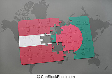 puzzle with the national flag of latvia and bangladesh on a world map